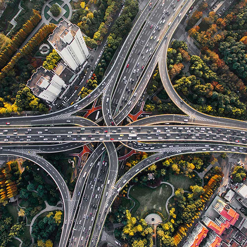 Top down view of crowded freeway and ramps
